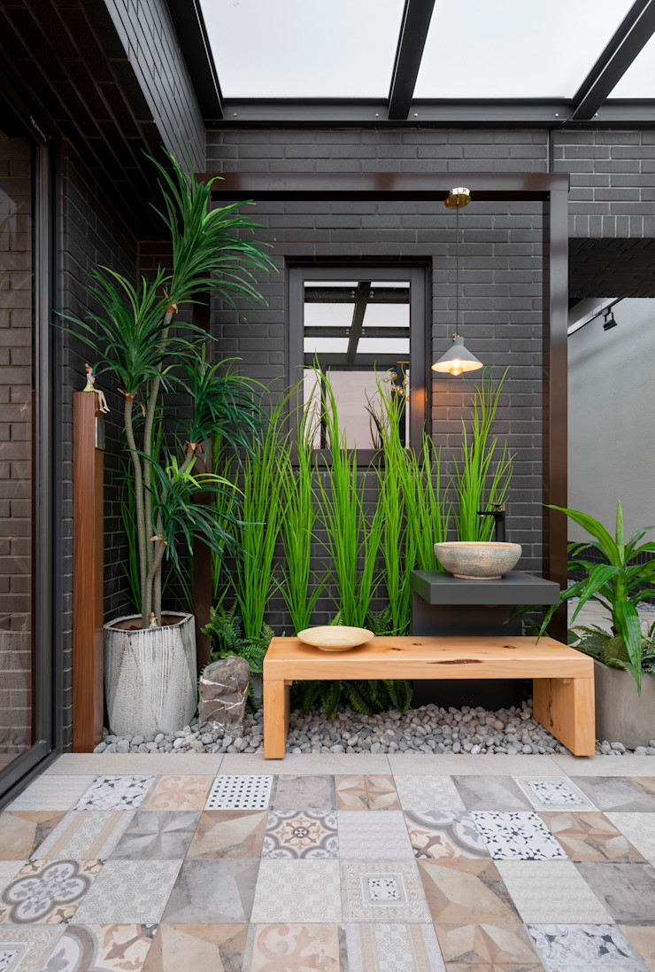 白天一眼望去玻璃屋內部也綠意盎然 大地工房景觀公司 Interior landscaping
