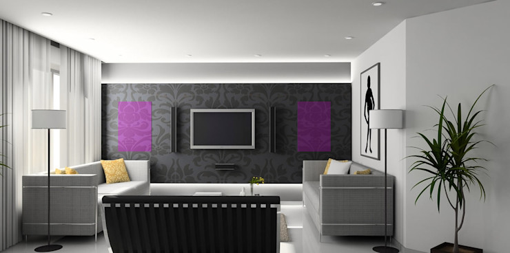Heat Art - infrarood verwarming Modern Living Room Glass Purple/Violet