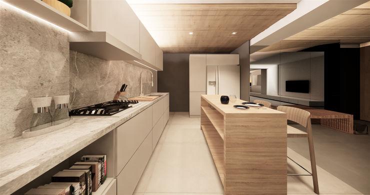 Saulo Magno Arquiteto 系統廚具 木頭 Grey