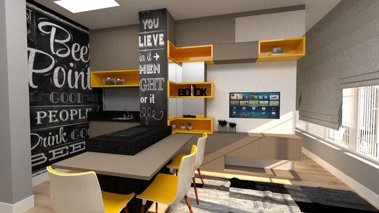 LIVING CONCEITO ABERTO JR DECOR - Design de Interiores Salas de estar modernas Amarelo