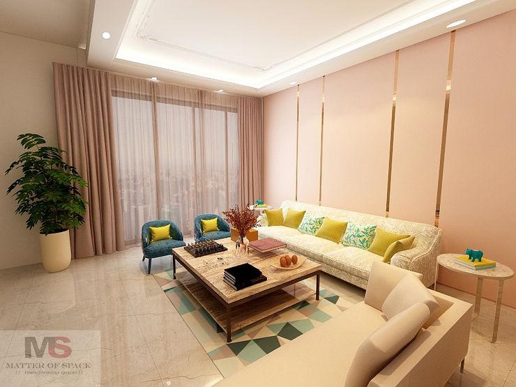 Living area + dining area Matter Of Space Pvt. Ltd. 现代客厅設計點子、靈感 & 圖片 玻璃 Pink