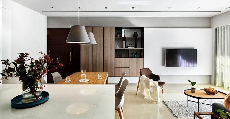 客餐廳 樸十設計有限公司 SIMPURE Design Minimalist living room