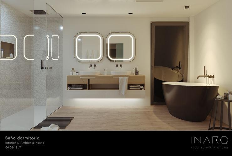 Baño en suite INARQ Espacio Baños de estilo moderno Cerámico Negro