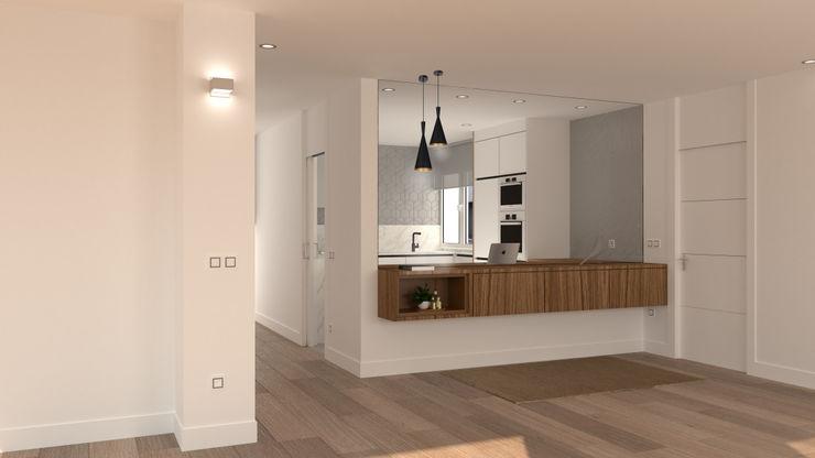 Hall de entrada a la vivienda. arQmonia estudio, Arquitectos de interior, Asturias Pasillos, vestíbulos y escaleras de estilo moderno