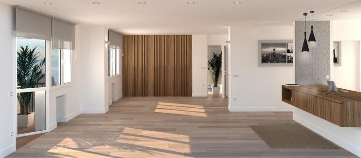 Vista general del salón, comedor y hall arQmonia estudio, Arquitectos de interior, Asturias Salones de estilo moderno