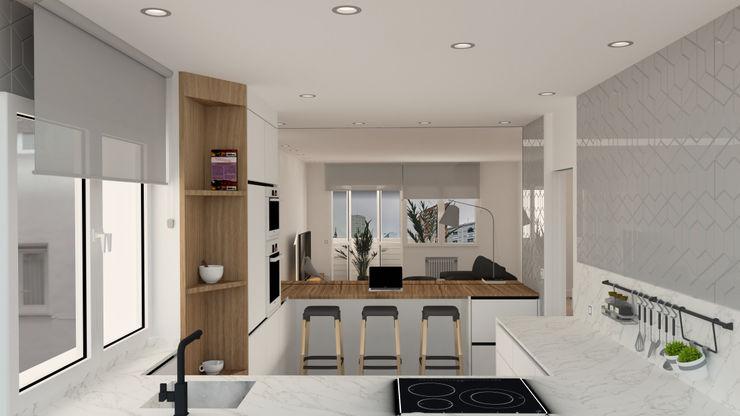 Cocina, zona barra. arQmonia estudio, Arquitectos de interior, Asturias Cocinas integrales Tablero DM Acabado en madera