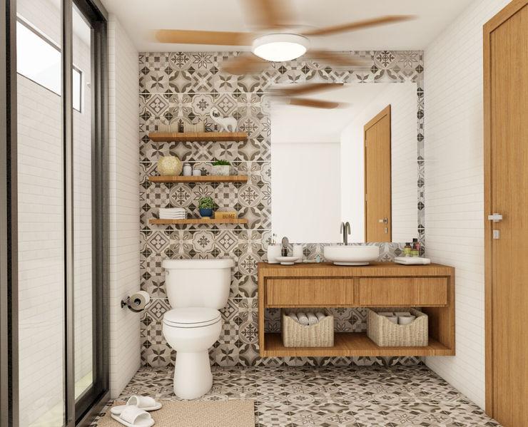 MURO 31 ESTUDIO Eclectic style bathroom Wood Grey