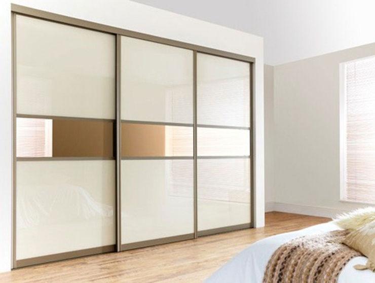 Gold White Sliding Door Wardrobes London Metro Wardrobes London BedroomWardrobes & closets