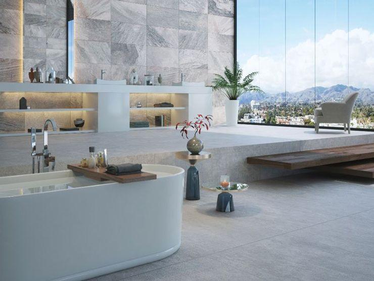 Baño estilo spa con tonos grises Interceramic MX Baños modernos Cerámico Gris