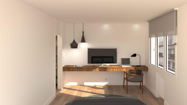 Dormitorio principal. Zona escritorio. arQmonia estudio, Arquitectos de interior, Asturias Dormitorios de estilo moderno