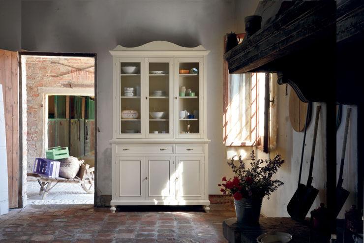 Credenza con vetrina shabby chic Idea Stile Sala da pranzo in stile scandinavo Legno massello Bianco