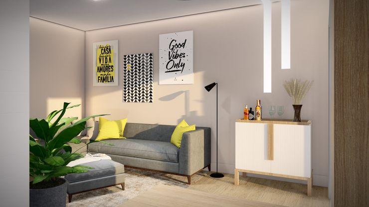 Studio MP Interiores Modern Living Room Bricks Beige