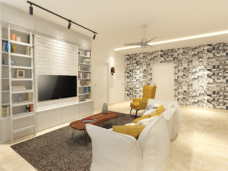 Apartment at DLF The Crest The Workroom Modern Media Room