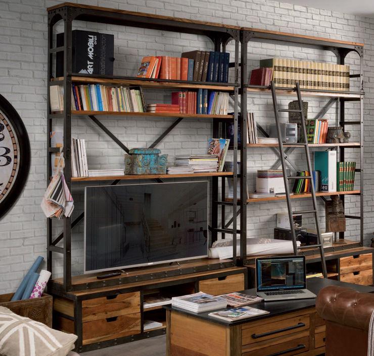 Librerie industrial legno e ferro nuovimondi di Flli Unia snc Soggiorno in stile industriale