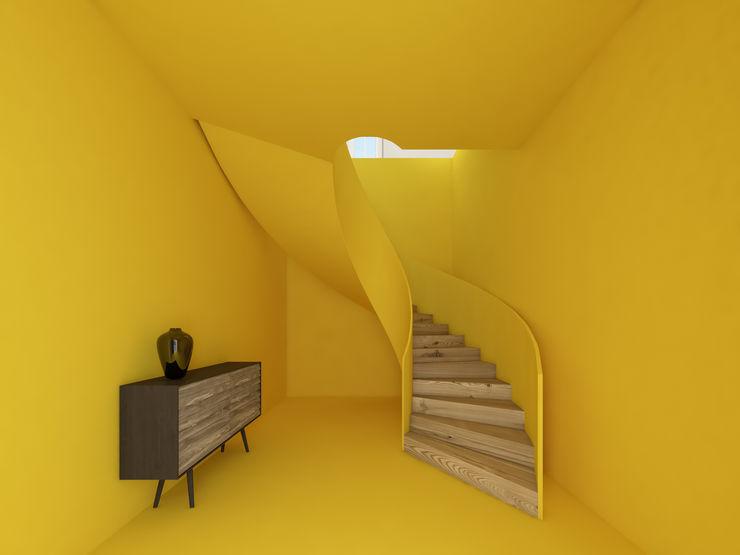 homify Ingresso, Corridoio & Scale in stile minimalista Giallo