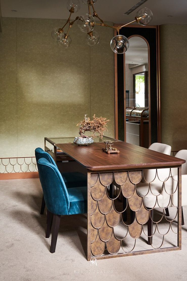 富壁寶鼎珠寶店 FBBD Jeweler 理絲室內設計有限公司 Ris Interior Design Co., Ltd. 辦公空間與店舖 銅/青銅/黃銅 Green