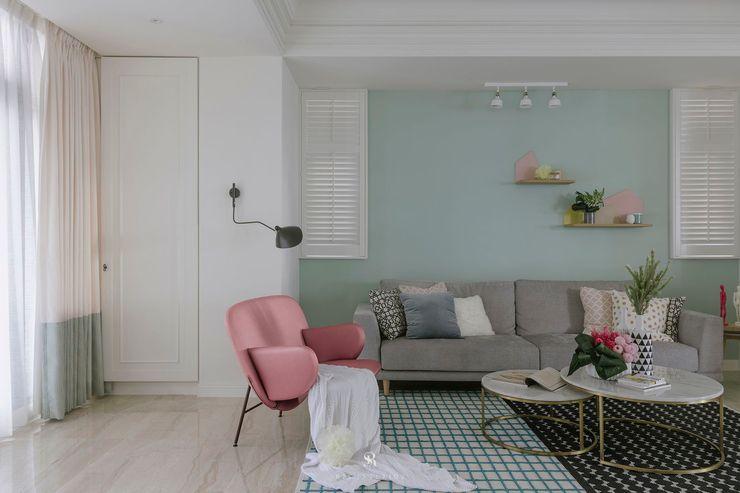 紛染.綿綿 Trochee of Tints 理絲室內設計有限公司 Ris Interior Design Co., Ltd. 客廳 複合木地板 Blue