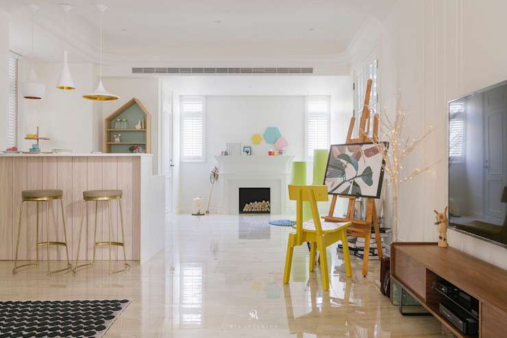 紛染.綿綿 Trochee of Tints 理絲室內設計有限公司 Ris Interior Design Co., Ltd. 客廳 實木 Yellow