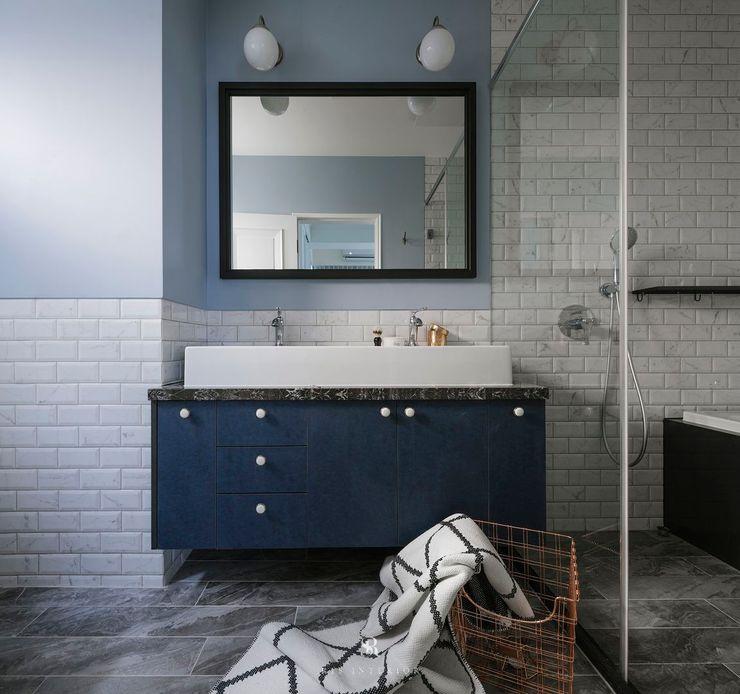 紛染.綿綿 Trochee of Tints 理絲室內設計有限公司 Ris Interior Design Co., Ltd. 現代浴室設計點子、靈感&圖片 花崗岩 Blue