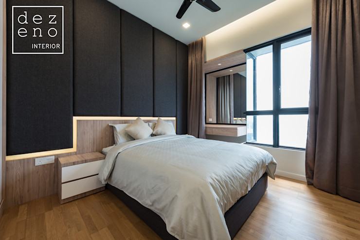 BEDROOM Dezeno Sdn Bhd Modern style bedroom Plywood Grey