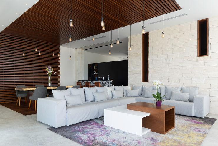 casa de la p Daniel Cota Arquitectura | Despacho de arquitectos | Cancún Modern Living Room Wood Wood effect