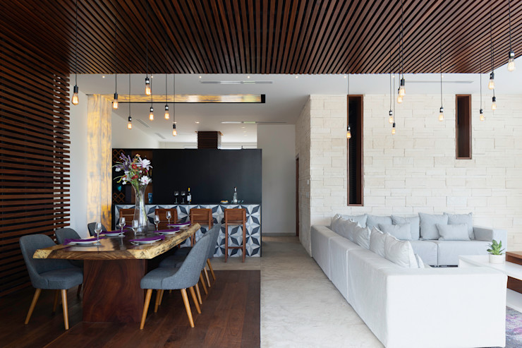 casa de la p Daniel Cota Arquitectura | Despacho de arquitectos | Cancún Modern Dining Room Wood Wood effect
