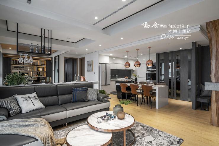 開放式公共空間 木博士團隊/動念室內設計制作 现代客厅設計點子、靈感 & 圖片 Grey