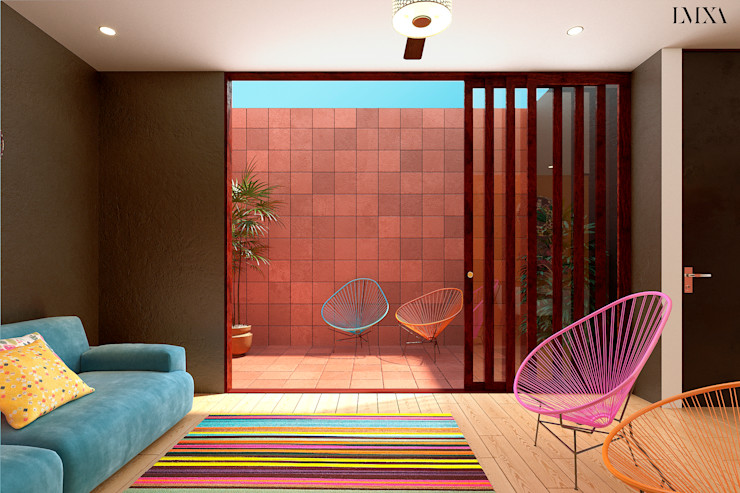 Patio interior Laboratorio Mexicano de Arquitectura Balcones y terrazas modernos Ladrillos Rojo