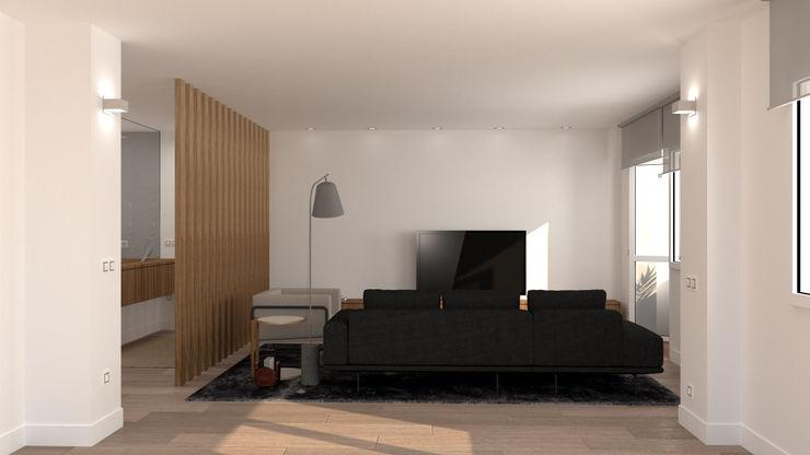 Salón Comedor. Zona sofás. arQmonia estudio, Arquitectos de interior, Asturias Salones de estilo moderno