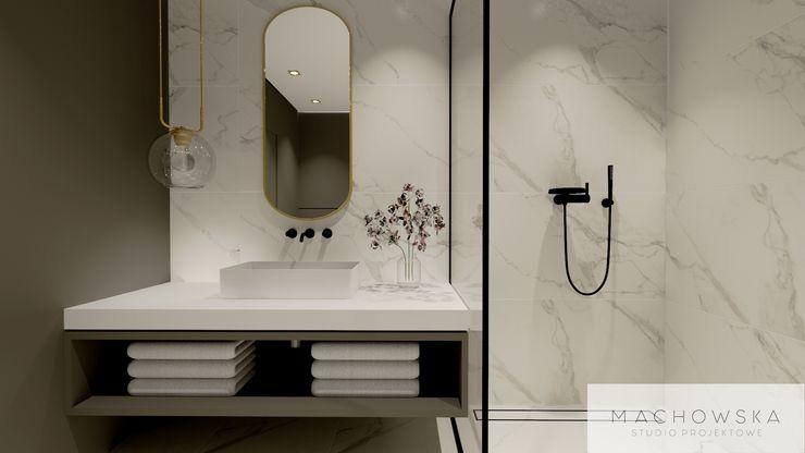 Machowska Studio Projektowe Modern Bathroom Marble White