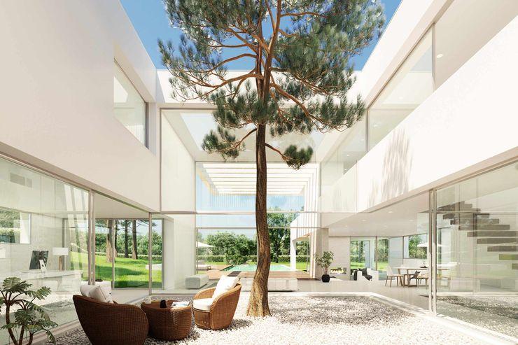 Patio interior Otto Medem Arquitecto vanguardista en Madrid Jardines japoneses