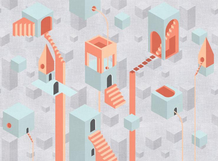 Tecnografica Paredes y pisos de estilo moderno Gris