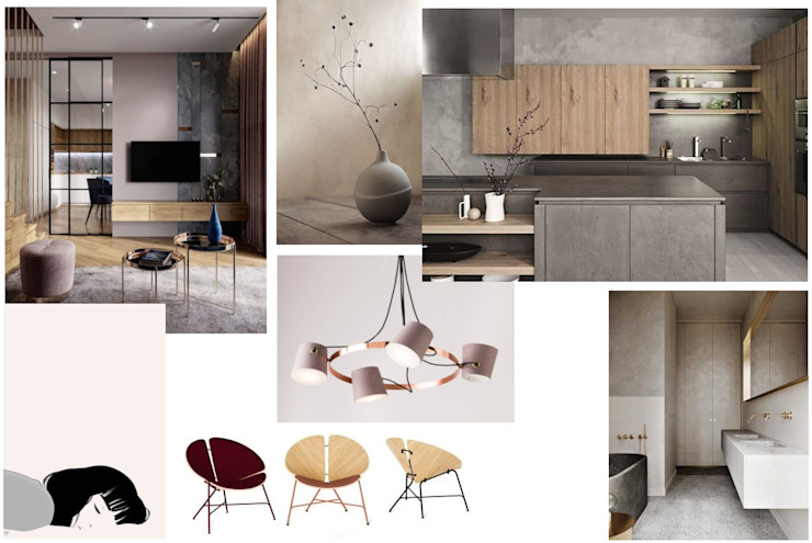 PRESTIGE-KURSY Phòng khách phong cách tối giản