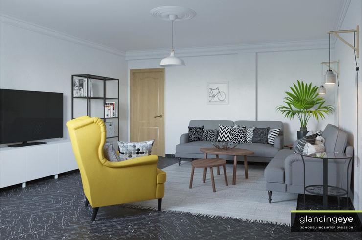 Salón estilo escandinavo Glancing EYE - Asesoramiento y decoración en diseños 3D Salones de estilo escandinavo