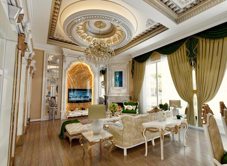 Oturma Odası Decorvita mimarlık Klasik Oturma Odası Altın Sarısı