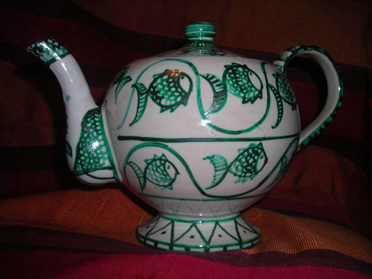 Teiera in Ceramica Decorata ARTE DELL'ABITARE ArteAltri oggetti d'arte Ceramica Variopinto