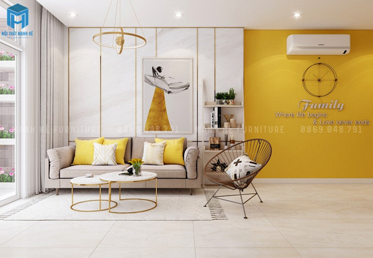 Công ty Cổ Phần Nội Thất Mạnh Hệ Modern living room Solid Wood Yellow