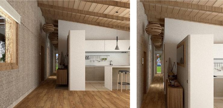 Muy diáfano. arQmonia estudio, Arquitectos de interior, Asturias Pasillos, vestíbulos y escaleras de estilo mediterráneo