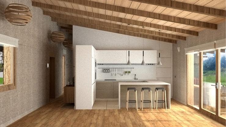 Cocina abierta. arQmonia estudio, Arquitectos de interior, Asturias Cocinas de estilo mediterráneo
