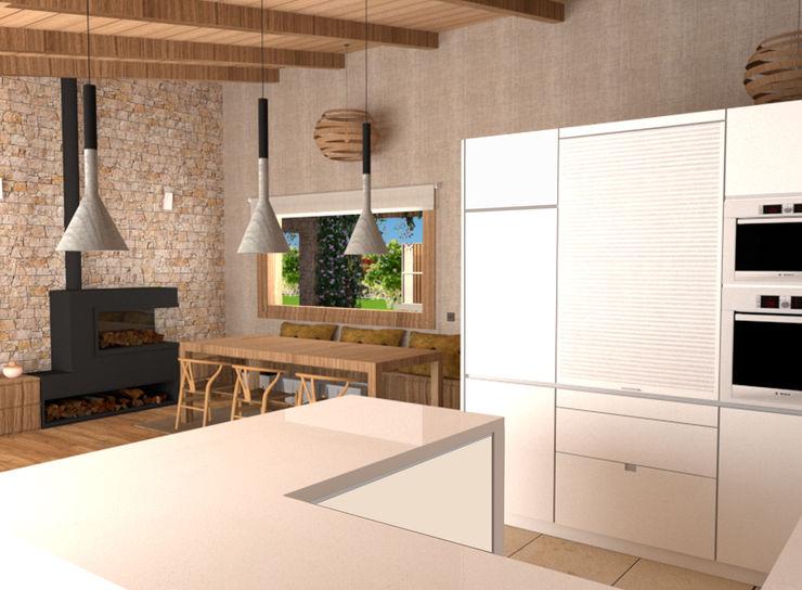 Una cocina bien comunicada. arQmonia estudio, Arquitectos de interior, Asturias Comedores de estilo mediterráneo