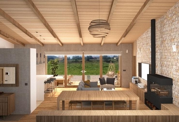 Comer con los ojos arQmonia estudio, Arquitectos de interior, Asturias Salones de estilo mediterráneo