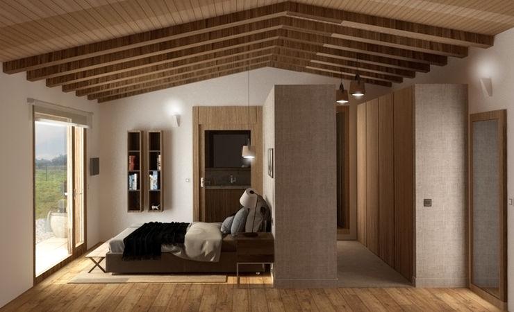 Acceso por el vestidor arQmonia estudio, Arquitectos de interior, Asturias Dormitorios de estilo mediterráneo