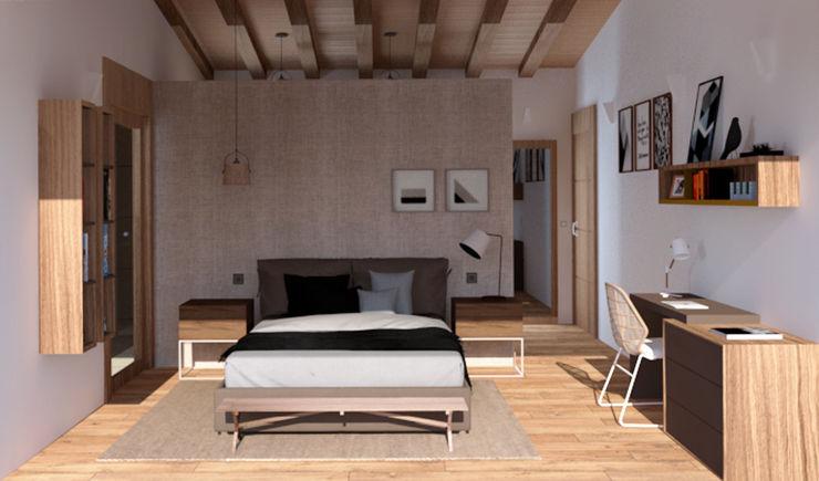 Una suite privada con baño arQmonia estudio, Arquitectos de interior, Asturias Dormitorios de estilo mediterráneo