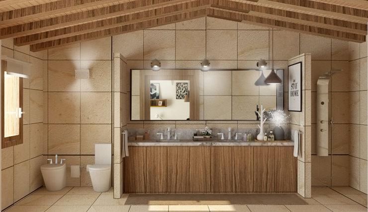 Un baño bien organizado arQmonia estudio, Arquitectos de interior, Asturias Baños de estilo mediterráneo