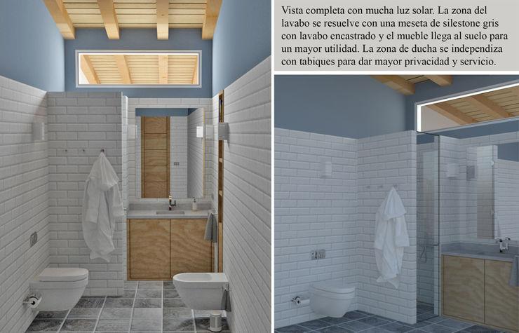 Iluminar con la luz solar sin ventana arQmonia estudio, Arquitectos de interior, Asturias Baños de estilo mediterráneo