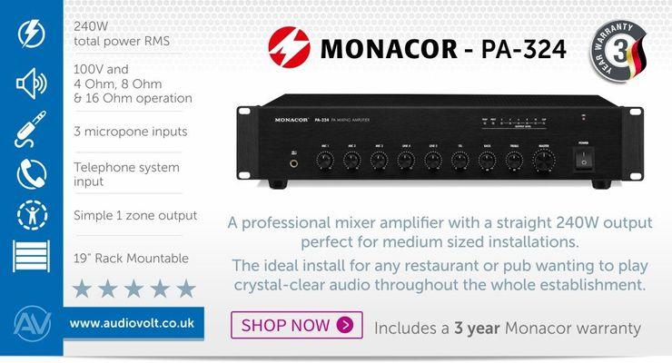 Monacor PA-324 240w 100V Line PA Mixing Amplifier Audio Volt