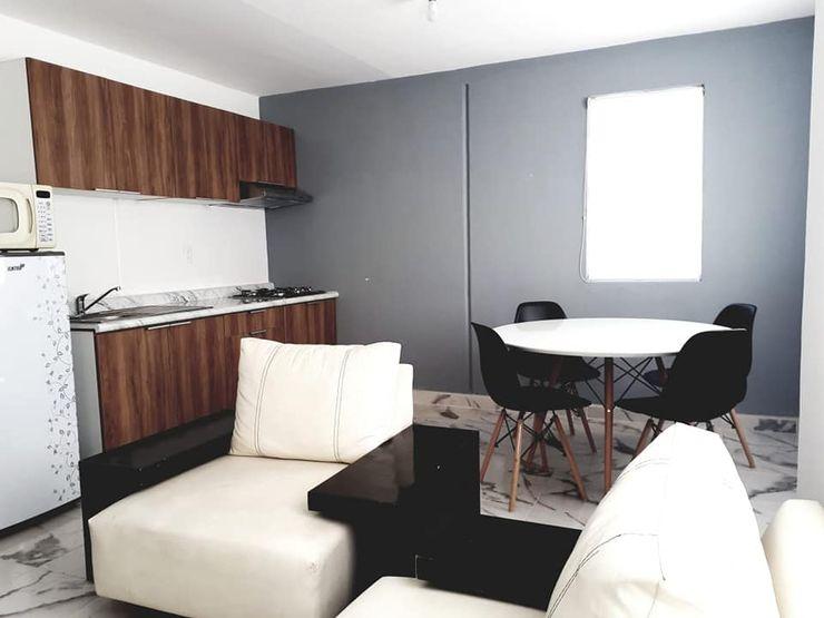 Espacio Abierto Sala, comedor, cocina CREArquitectura Cocinas pequeñas Acabado en madera