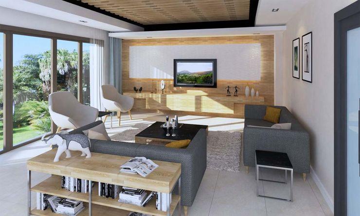 Oturma Odası - TV Ünitesi Kalya İç Mimarlık \ Kalya Interıor Desıgn Modern Oturma Odası Ahşap Ahşap rengi