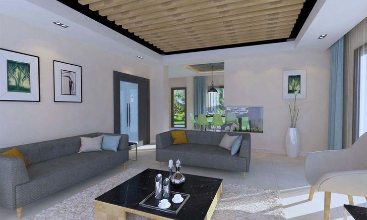 Villa Projesi - Oturma Bölümü Kalya İç Mimarlık \ Kalya Interıor Desıgn Modern Oturma Odası Ahşap Ahşap rengi