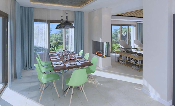 Oturma Odası - Yemek Alanı Kalya İç Mimarlık \ Kalya Interıor Desıgn Modern Yemek Odası Ahşap Ahşap rengi